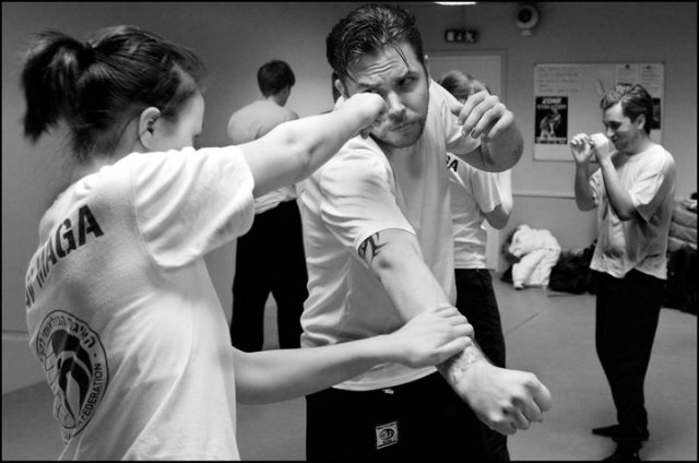 Krav Maga Technique: Women punches face of attacking male.